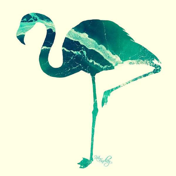 Digital Art - Art Sea Flamingo In Seagreen by Micki Findlay