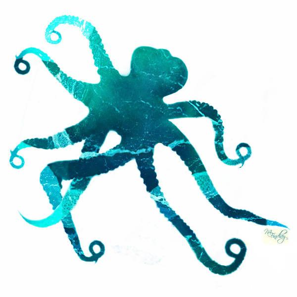 Digital Art - Art Sea Octopus In Turquoise by Micki Findlay