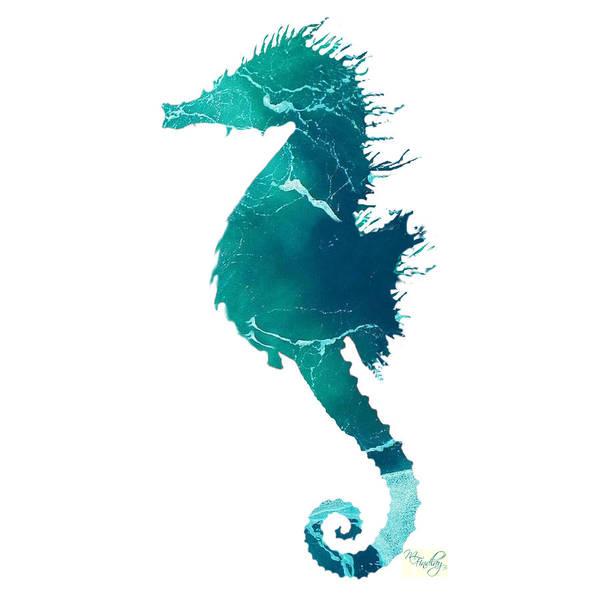 Digital Art - Art Sea Seahorse In Turquoise by Micki Findlay