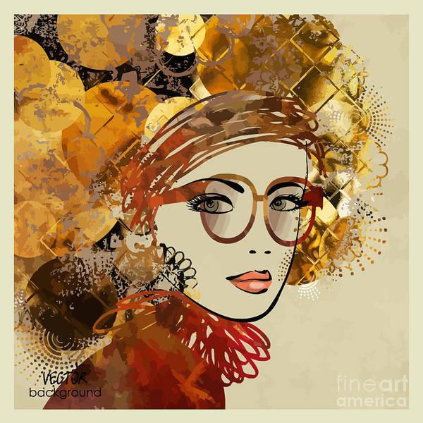 Wall Art - Digital Art - Art Sketching Vector Girl Face Symbols by Irina qqq