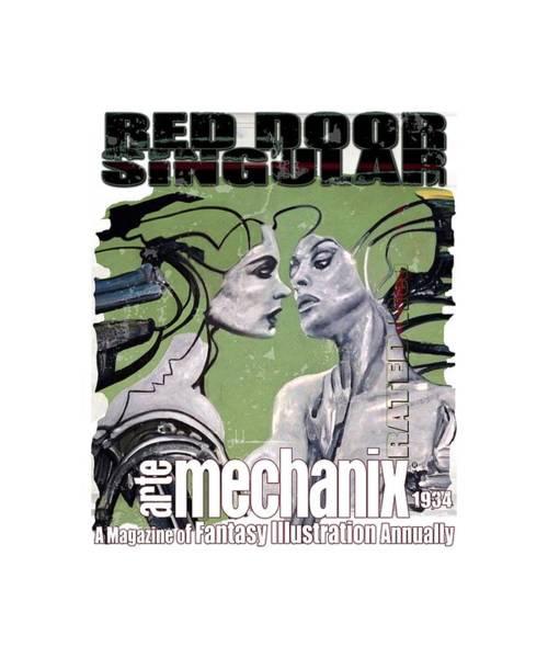 Mixed Media - arteMECHANIX 1934 RED DOOR SINGULAR  GRUNGE by Jody Bronson