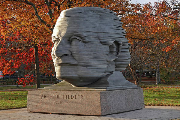 Photograph - Arthur Fiedler Statue Charles River Boston Ma In The Autumn by Toby McGuire