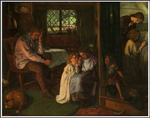 Wall Art - Painting - Arthur Hughes  1832-1915 , Bedtime by Celestial Images