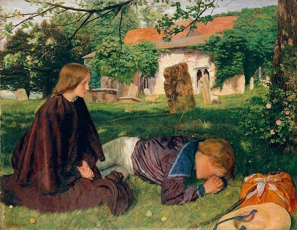 Wall Art - Painting - Arthur Hughes  1832-1915 Home From Sea  The Mother S Grave - 1862 by Arthur Hughes