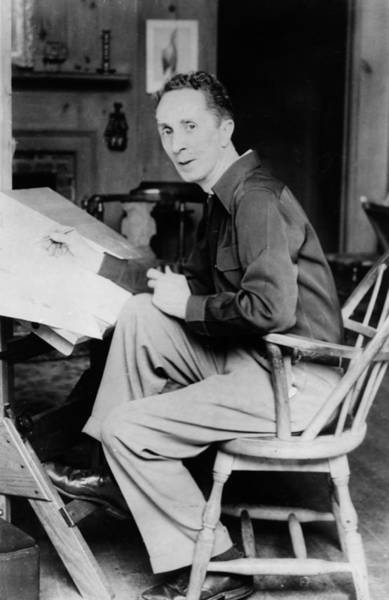 Pencil Drawing Photograph - Artist Norman Rockwell At Work by Hulton Archive