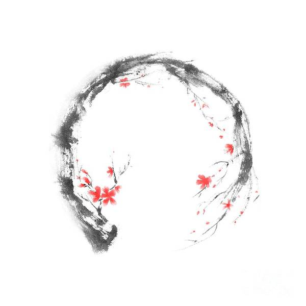Blooming Tree Mixed Media - Artistic Design Of The Enso Circle In The Shape Of A Blossoming Sakura by Awen Fine Art Prints