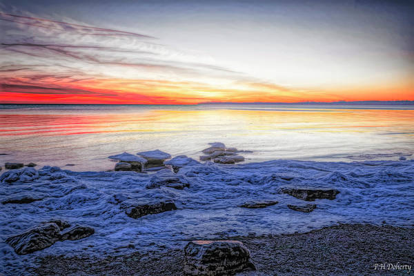 Great Lakes Region Wall Art - Digital Art - Artistic Evening On Erie by Phill Doherty