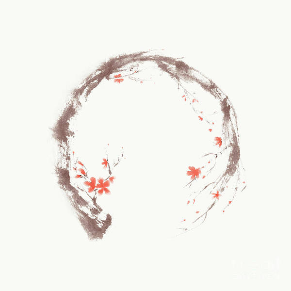 Blooming Tree Mixed Media - Artistic Illustration Of Enso Circle In The Form Of The Sakura B by Awen Fine Art Prints