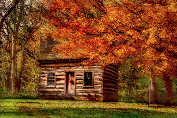 Photograph - Artistic Log Cabin-fall by Don Johnson