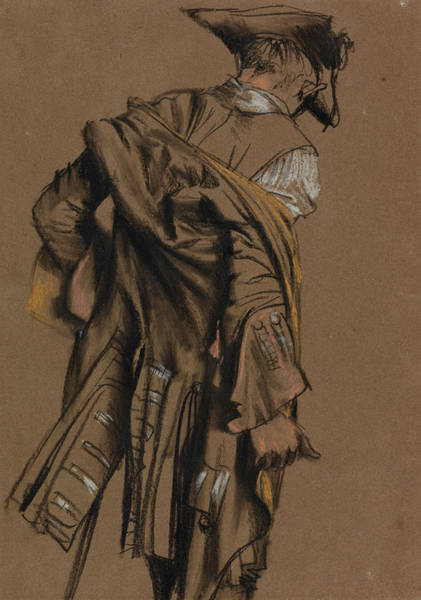 Drawing - Artist's Model, Seen In Back View by Adolph Menzel