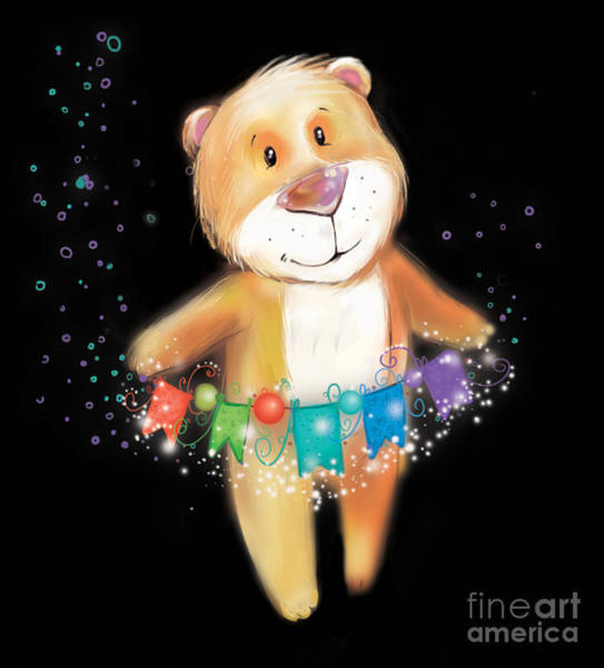 Wall Art - Digital Art - Artoon Bear  On A Black Background. New by Stryhelskaya Volha