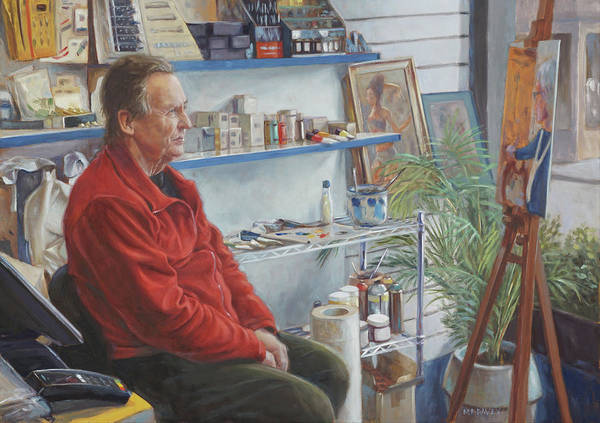 Wall Art - Painting - Artshop Owner With His Painting by Martin Davey