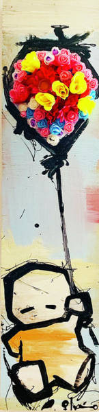 Wall Art - Mixed Media - Artus And The Flower Balloon by Voodo Fe'