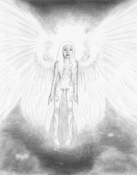 Drawing - As An Angel She Realized Why - Artwork by Ryan Nieves