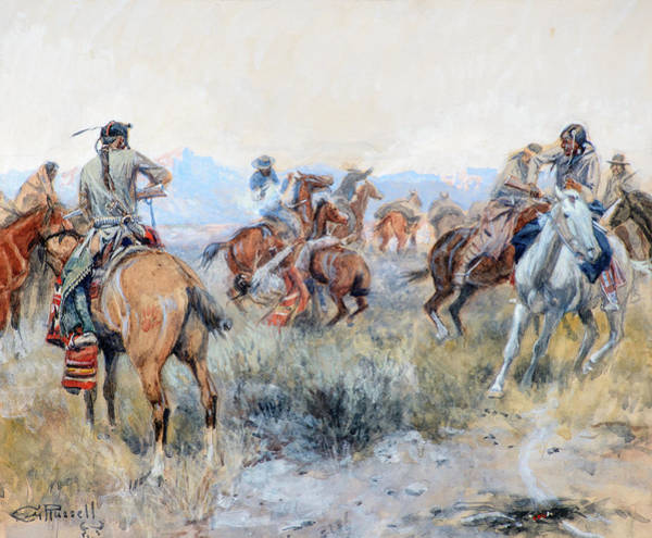 Wall Art - Painting - As Cochrane And Pard Leaped Into Their Saddles, Cochrane Shot The Indian, 1910 by Charles M Russell