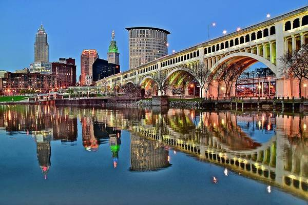 Wall Art - Photograph - As Evening Falls On Cleveland by Frozen in Time Fine Art Photography