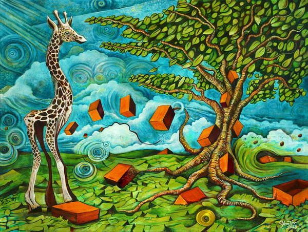 Painting - As High As Giraffe Bus by Yom Tov Blumenthal