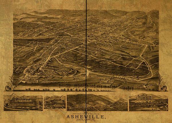 Asheville Wall Art - Mixed Media - Asheville North Carolina Vintage City Street Map 1891 by Design Turnpike