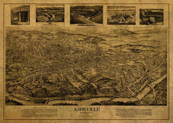Asheville Wall Art - Mixed Media - Asheville North Carolina Vintage City Street Map Birds Eye View 1912 by Design Turnpike