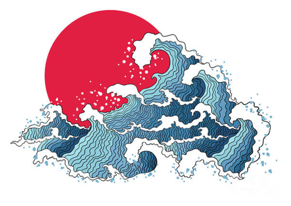 Wall Art - Digital Art - Asian Illustration Of Ocean Waves And by Annykos