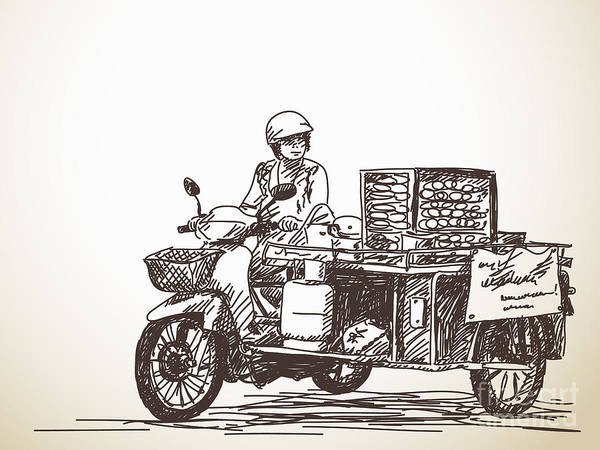 Wall Art - Photograph - Asian Street Food On Motorbike, Hand by Art Of Line