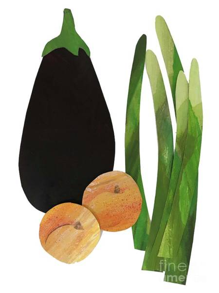 Cut-out Mixed Media - Asparagus, Apricots,aubergine by Sarah Thompson-engels