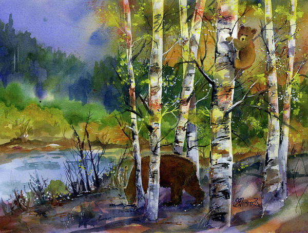 Painting - Aspen Bears #2 by Joan Chlarson