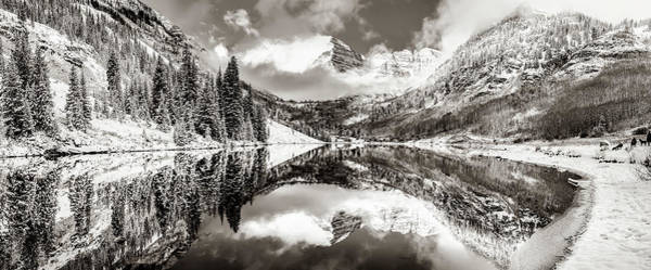 Photograph - Aspen Colorado Maroon Bells Sepia Panoramic Landscape by Gregory Ballos