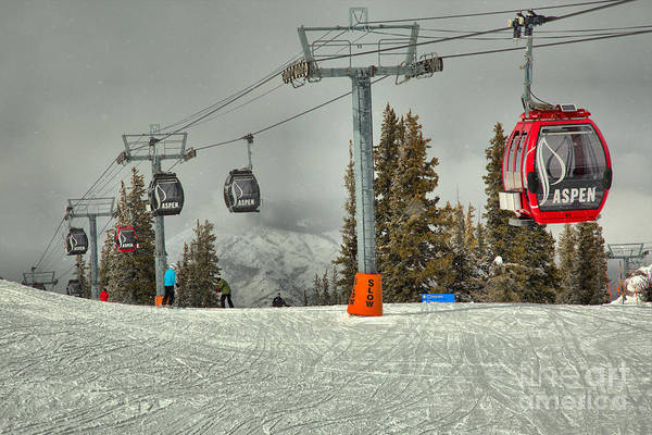 Photograph - Aspen Mountain Gondola In Motion by Adam Jewell