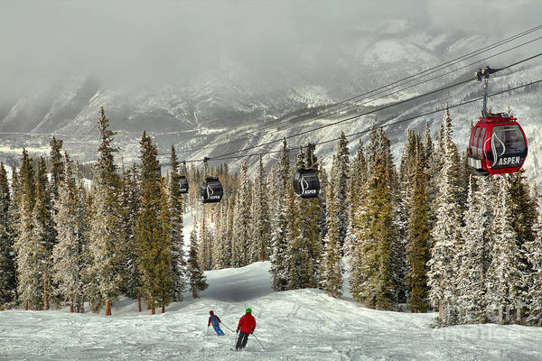 Photograph - Aspen Skiers Under The Gondola by Adam Jewell