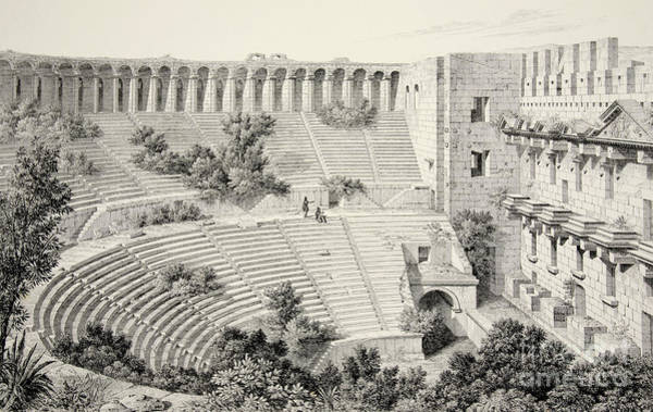 Wall Art - Drawing - Aspendu  Interior Of Theatre, From The Principal Ruins Of Asia Minor by English School