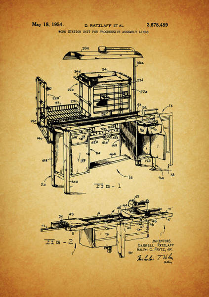 Drawing - Assembly Line Work Station by Dan Sproul