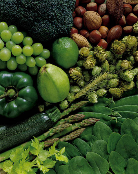 Wall Art - Photograph - Assorted Raw Vegetables, Fruits And Nuts by Andy Collison