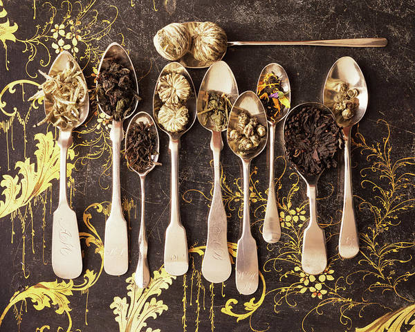 Tea Photograph - Assorted Teas On Engraved Silver Spoons by Gentl And Hyers