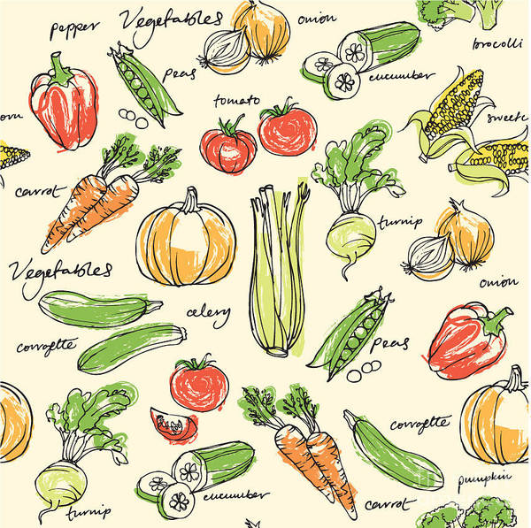 Organic Garden Wall Art - Digital Art - Assorted Vegetables Seamless Pattern by Ohn Mar