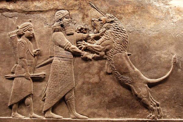 Carving Photograph - Assyrian Royal Lion Hunt by Joe & Clair Carnegie / Libyan Soup