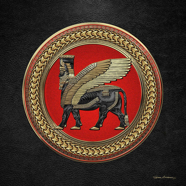 Digital Art - Assyrian Winged Bull - Gold And Black Lamassu On Red And Gold Medallion Over Black Leather by Serge Averbukh