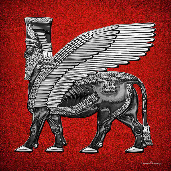 Digital Art - Assyrian Winged Bull - Silver And Black Lamassu Over Red Leather by Serge Averbukh