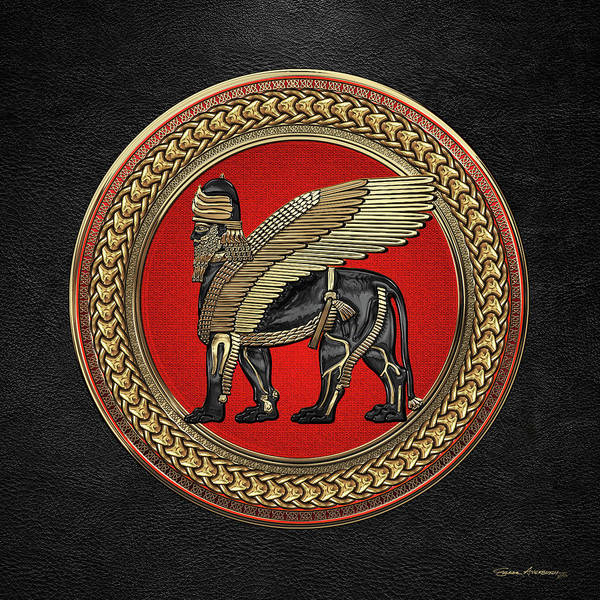 Digital Art - Assyrian Winged Lion - Gold And Black Lamassu On Red And Gold Medallion Over Black Leather by Serge Averbukh