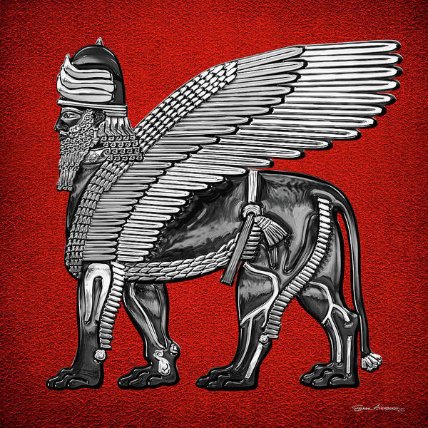 Digital Art - Assyrian Winged Lion - Silver And Black Lamassu Over Red Leather by Serge Averbukh