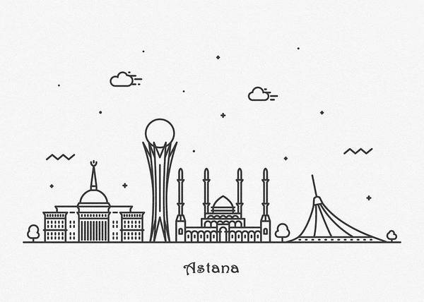 Wall Art - Drawing - Astana Cityscape Travel Poster by Inspirowl Design