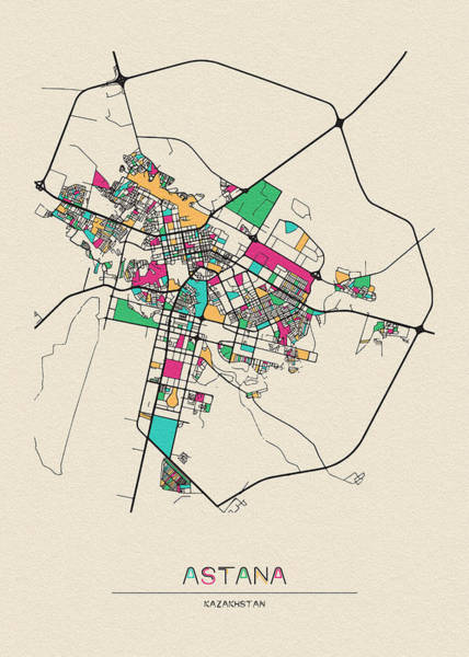 Wall Art - Digital Art - Astana, Kazakhstan City Map by Inspirowl Design