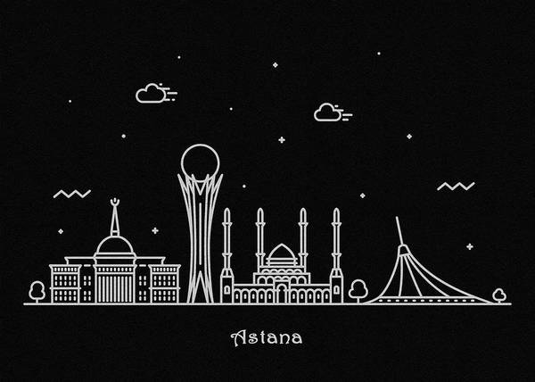 Wall Art - Drawing - Astana Skyline Travel Poster by Inspirowl Design
