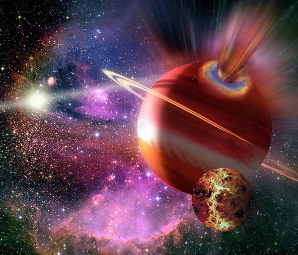 Space Exploration Digital Art - Asteroid Impact On An Alien Planet by Steve Allen