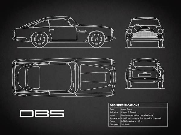 Photograph - Aston Db5 Blueprint Black by Mark Rogan