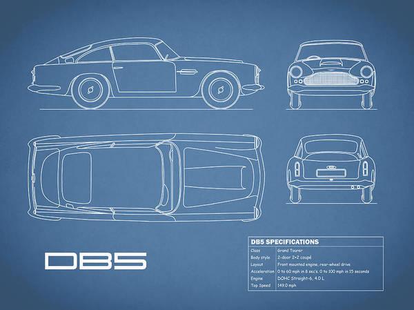 Photograph - Aston Db5 Blueprint by Mark Rogan