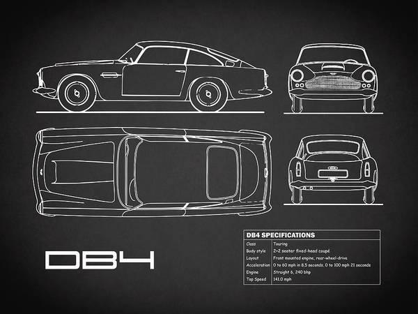 Wall Art - Photograph - Aston Martin Db4 Blueprint - Black by Mark Rogan
