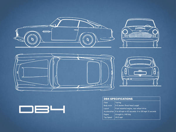 Wall Art - Photograph - Aston Martin Db4 Blueprint by Mark Rogan