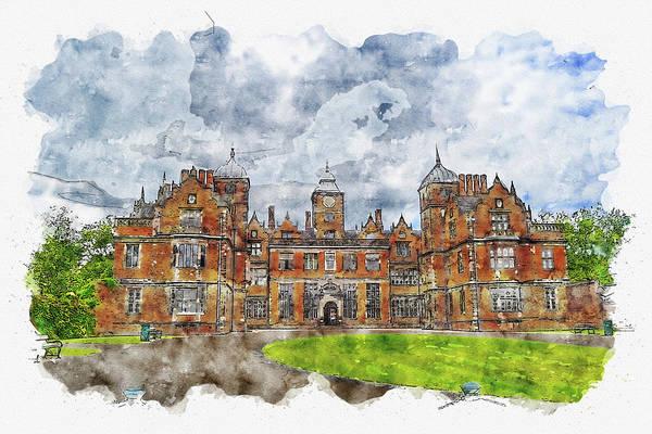 Wall Art - Digital Art - Aston #watercolor #sketch #aston #birmingham by TintoDesigns