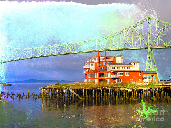 Oregon Coast Mixed Media - Astoria Pier And Spa Interlaced In Watercolor by Beverly Guilliams